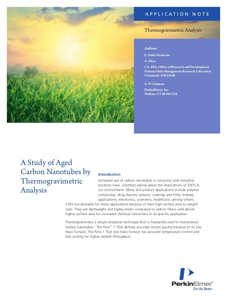 Application Note: A Study of Aged Carbon Nanotubes by Thermogravimetric Analysis
