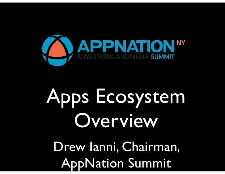 Apps Ecosystem  OverviewDrew Ianni, Chairman, AppNation Summit