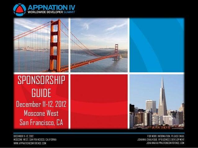 SPONSORSHIP      GUIDE  December 11-12, 2012     Moscone West   San Francisco, CADECEMBER 11-12, 2012                     ...