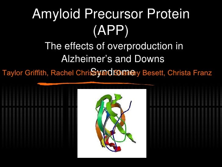 Amyloid Precursor Protein (APP) The effects of overproduction in Alzheimer's and Downs Syndrome Taylor Griffith, Rachel Ch...