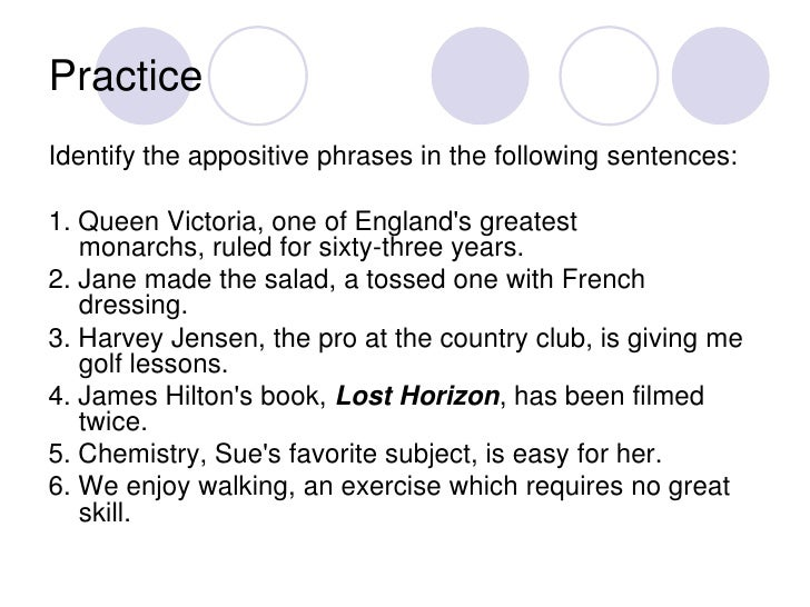 Appositives And Appositive Phrases 2