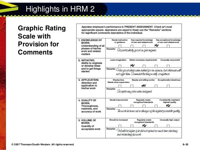 performance appraisal methods graphic rating scale appraisal ppt The effectiveness of alternative performance appraisal formats is evaluated in  terms  are: simple graphic rating scales, more complete graphic rating scales,  and behav-  secondary criteria can seriously contaminate the evaluation  process we  a performance appraisal technique that is superior to other  techniques in.