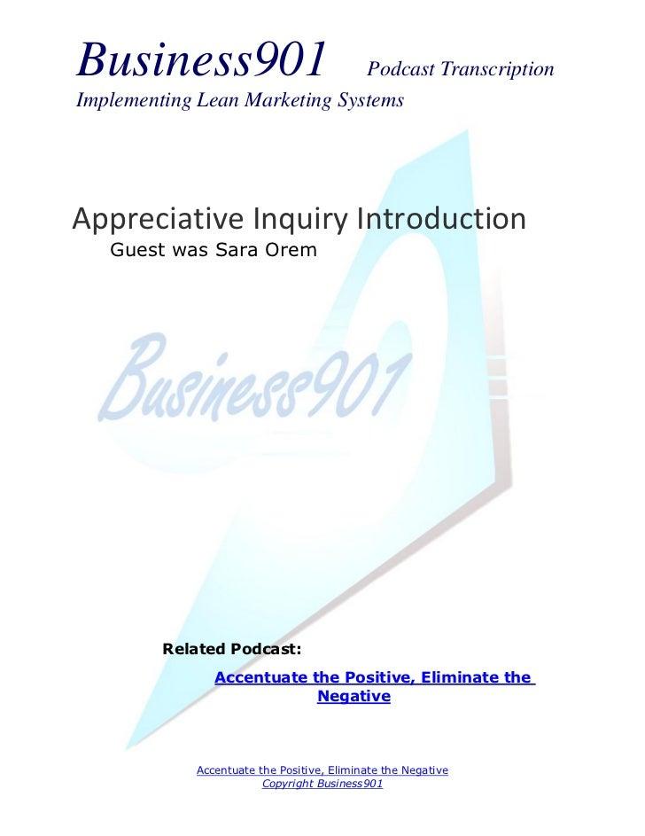 Appreciative Inquiry Introduction