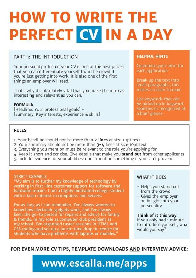 cv writing tips for school leavers