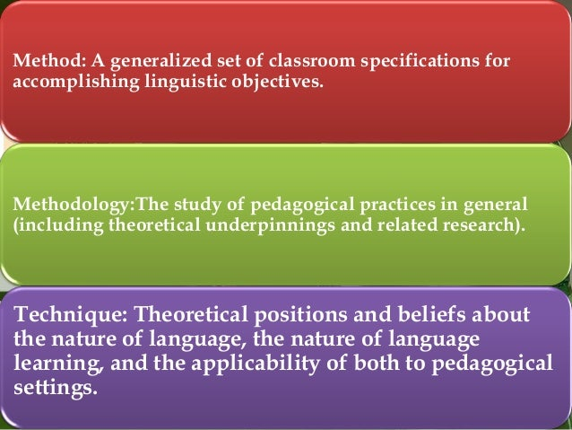 Method: A generalized set of classroom specifications for accomplishing linguistic objectives.  Methodology:The study of p...