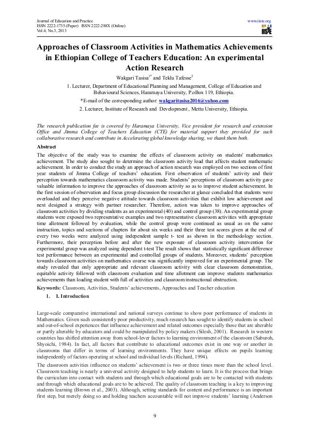 Approaches of classroom activities in mathematics achievements in ethiopian college of teachers education an experimental action research