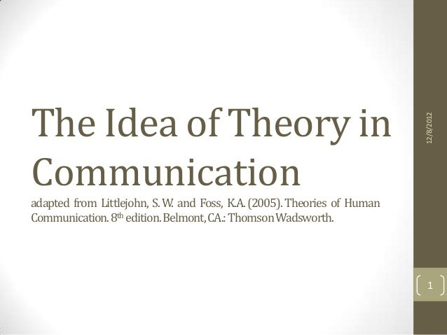 Approaches to communication   the idea of theory.
