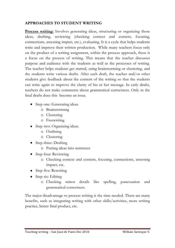 process approach in writing Teaching writing: a process approach jennifer a diliberto, phd  • writing roles saed ig•bi • the process approach: what is the writing process • the four critical components for teaching the writing process • teaching together: writing process and strategy instruction.