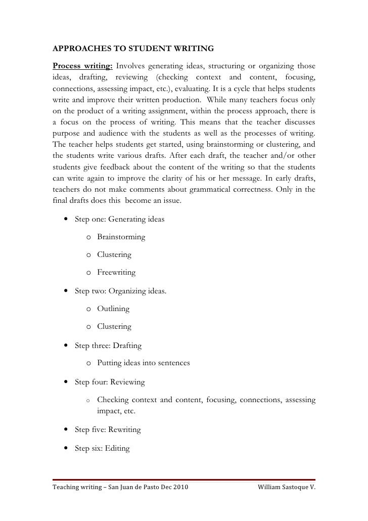 APPROACHES TO STUDENT WRITINGProcess writing: Involves generating ideas, structuring or organizing thoseideas, drafting, r...