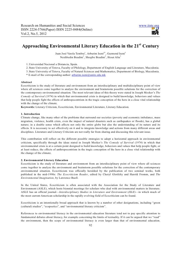 Approaching environmental literary education in the 21st century