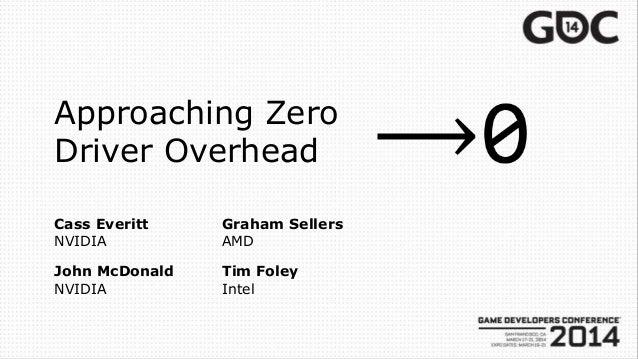 Approaching Zero Driver Overhead Cass Everitt NVIDIA Tim Foley Intel Graham Sellers AMD John McDonald NVIDIA