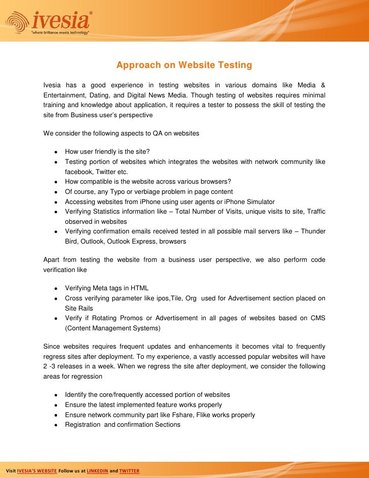 Approach on Website Testing