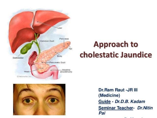 Approach to cholestatic Jaundice  Dr.Ram Raut -JR III (Medicine) Guide - Dr.D.B. Kadam Seminar Teacher- Dr.Nitin Pai
