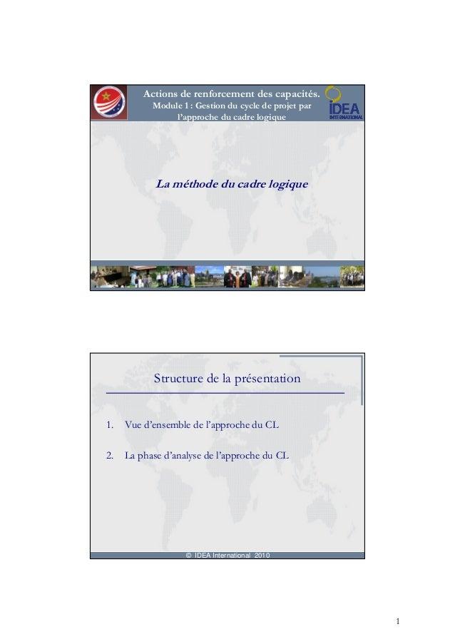 Actions de renforcement des capacités.           Module 1 : Gestion du cycle de projet par                l'approche du ca...