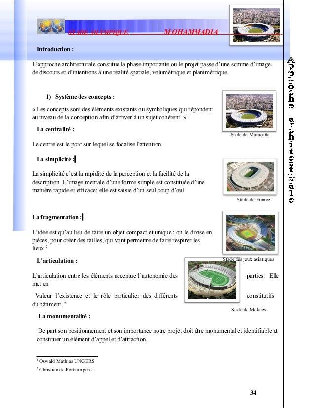 Stade de MaracañaStade de MeknèsSTADE OLYMPIQUE M OHAMMADIAIntroduction :L'approche architecturale constitue la phase impo...