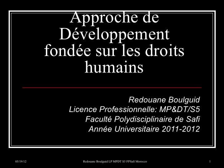 Approche de             Développement           fondée sur les droits                humains                              ...