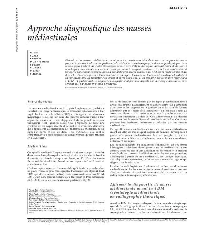 Approche diagnostique des masses  médiastinales  N Sans  J Giron  P Fajadet  D Galy-Fourcade  C Baunin  G Durand  JP Senac...