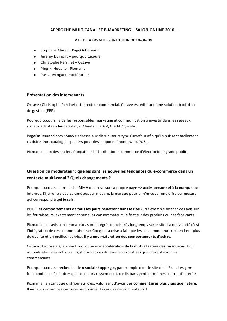 APPROCHE MULTICANAL ET E-MARKETING – SALON ONLINE 2010 – <br />PTE DE VERSAILLES 9-10 JUIN 2010-06-09<br />Stéphane Clare...