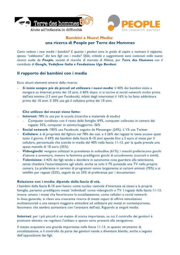 Bambini e Nuovi Media:                    una ricerca di People per Terre des HommesCome vedono i new media i bambini? E q...
