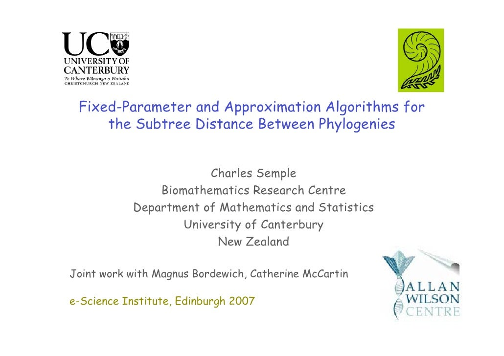 Fixed-Parameter and Approximation Algorithms for      the Subtree Distance Between Phylogenies                          Ch...