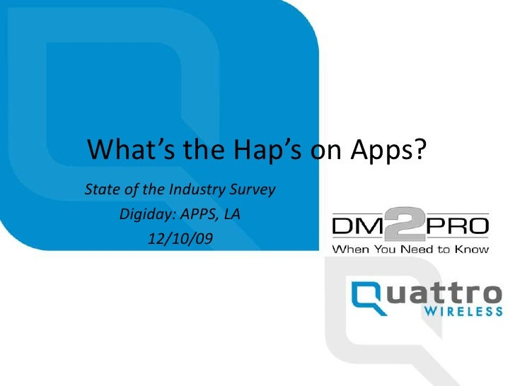What's the Hap's on Apps?<br />State of the Industry Survey<br />Digiday: APPS, LA<br />12/10/09<br />