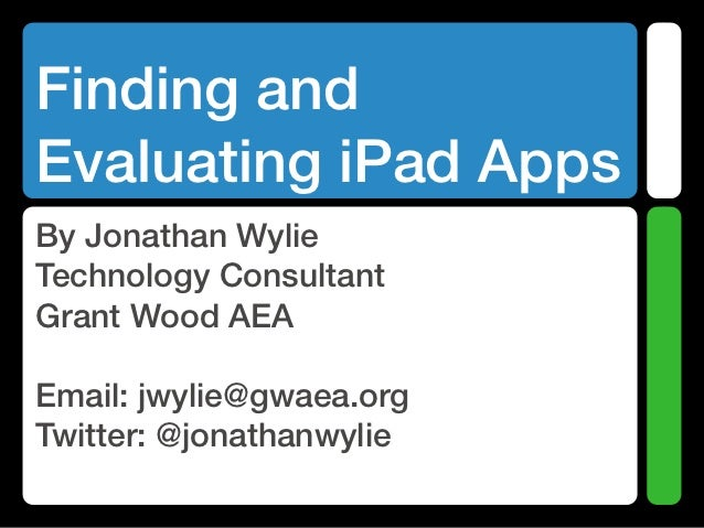 Finding and Evaluating iPad Apps