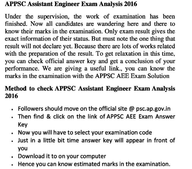 Appsc aee exam 2016 answer key and assistant engineer jobs exam answers and result