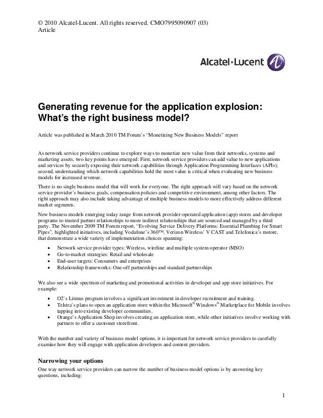 © 2010 Alcatel-Lucent. All rights reserved. CMO7995090907 (03) Article Generating revenue for the application explosion: W...