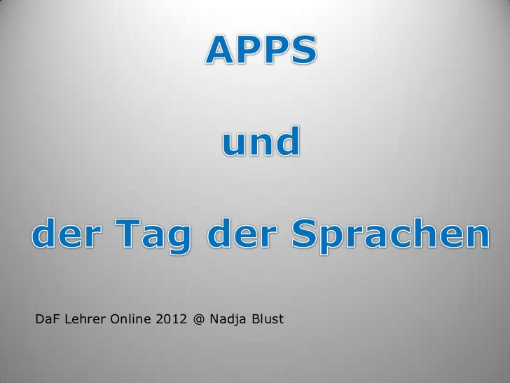 DaF Lehrer Online 2012 @ Nadja Blust