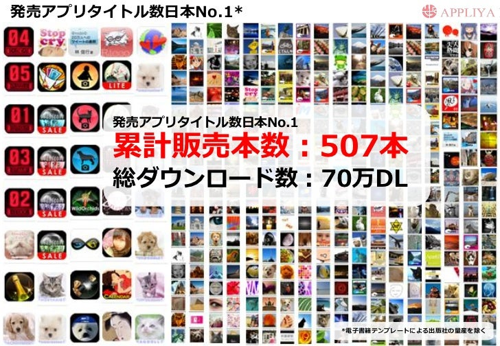 発売アプリタイトル数日本No.1*       発売アプリタイトル数日本No.1       累計販売本数:507本       総ダウンロード数:70万DL                          *電子書籍テンプレートによる出版社...