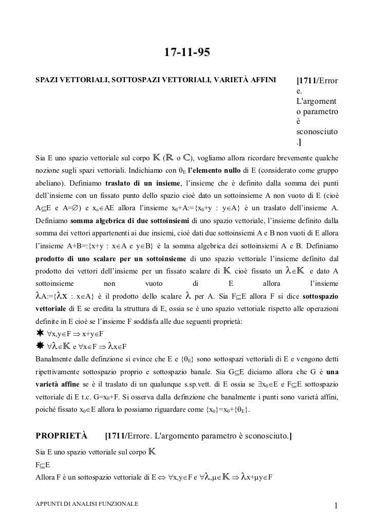 Appunti di analisi funzionale [a.a. 1995 1996][prof. biagio ricceri][santi caltabiano][università di messina]