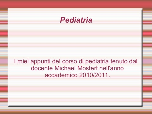 Appunti pediatria