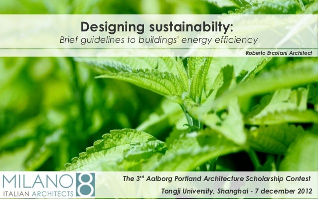 Designing sustainabilty:Brief guidelines to buildings energy efficiency                                                   ...