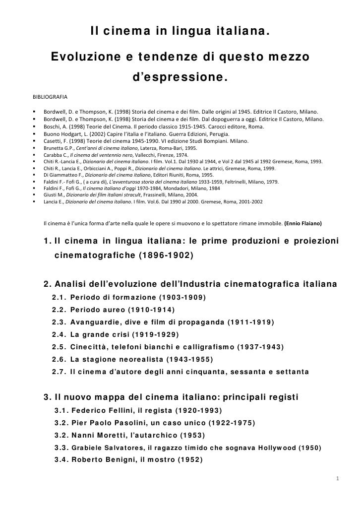Appunti Sul Cinema Italiano