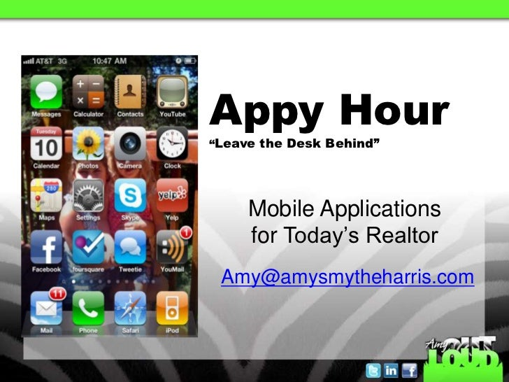 "Appy Hour""Leave the Desk Behind""     Mobile Applications     for Today's Realtor Amy@amysmytheharris.com"