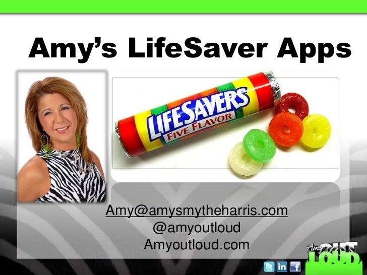 Amy's LifeSaver Apps    Amy@amysmytheharris.com         @amyoutloud        Amyoutloud.com