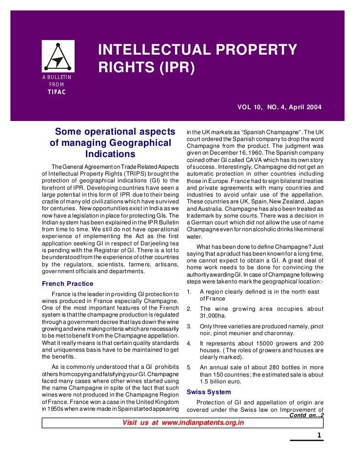 INTELLECTUAL PROPERTYA BULLETIN                      RIGHTS (IPR)   FROM  TIFAC                                           ...