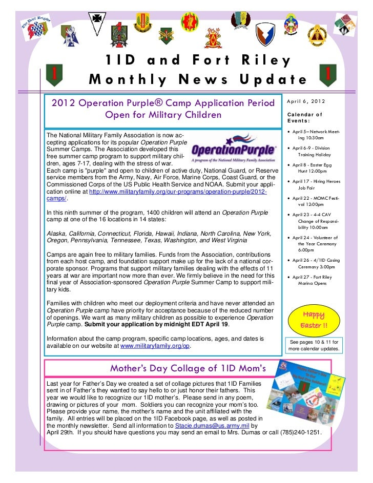 1ID and For t Riley                   Monthly News Update     2012 Operation Purple® Camp Application Period              ...