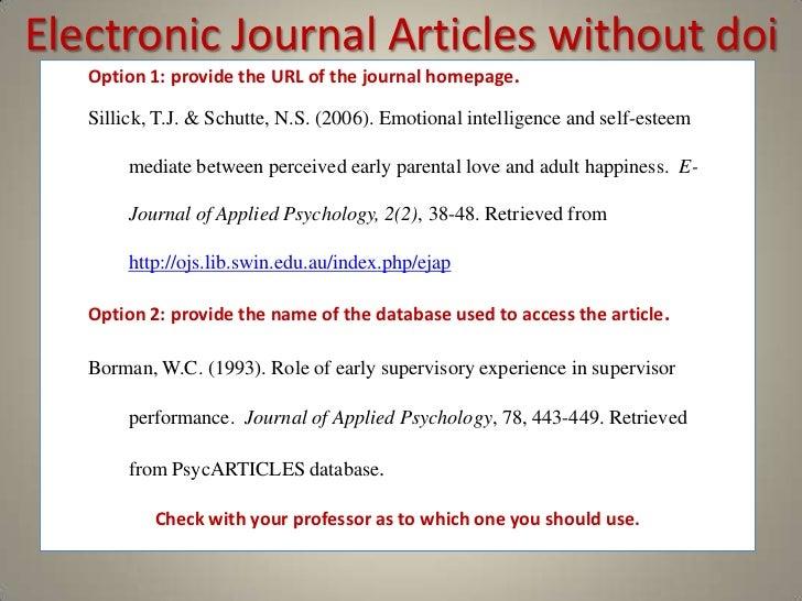 Doi for journal articles