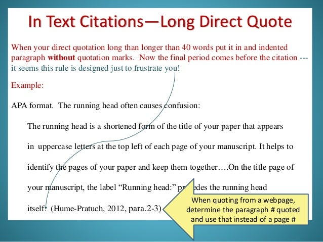 Apa in text quote citation