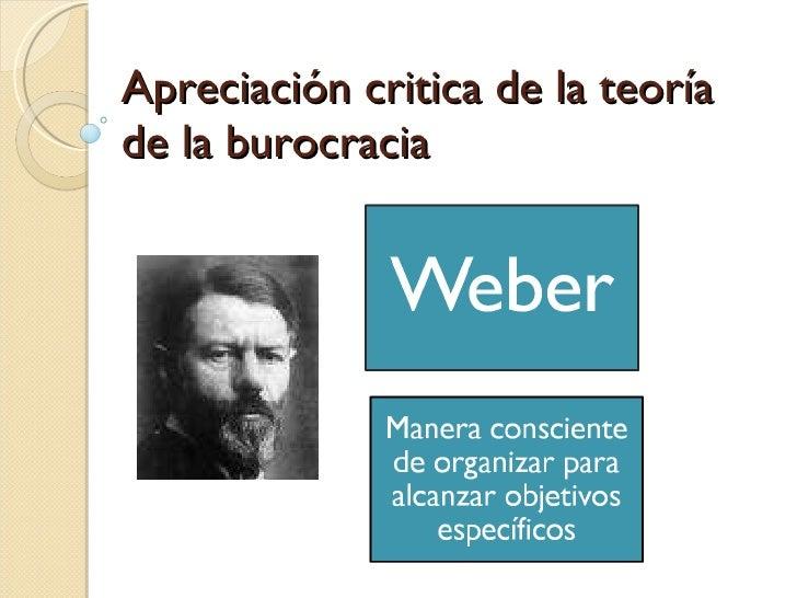 Apreciación critica de la teoría de la burocracia
