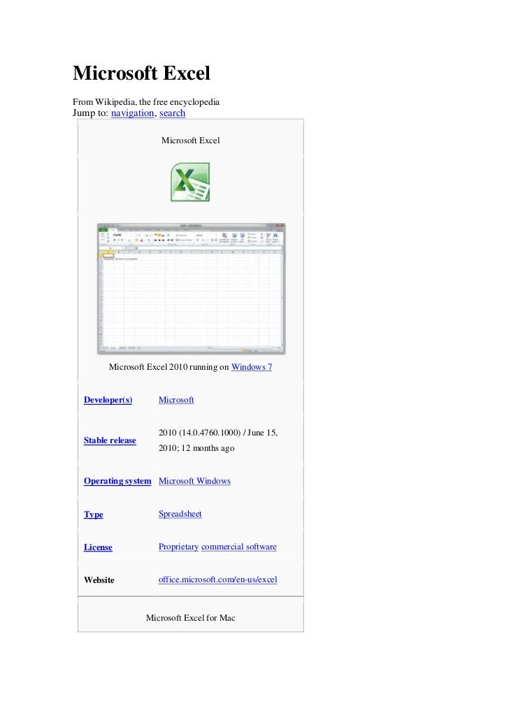 Microsoft Excel<br />From Wikipedia, the free encyclopedia<br />Jump to: navigation, search<br />Microsoft ExcelMicrosoft ...