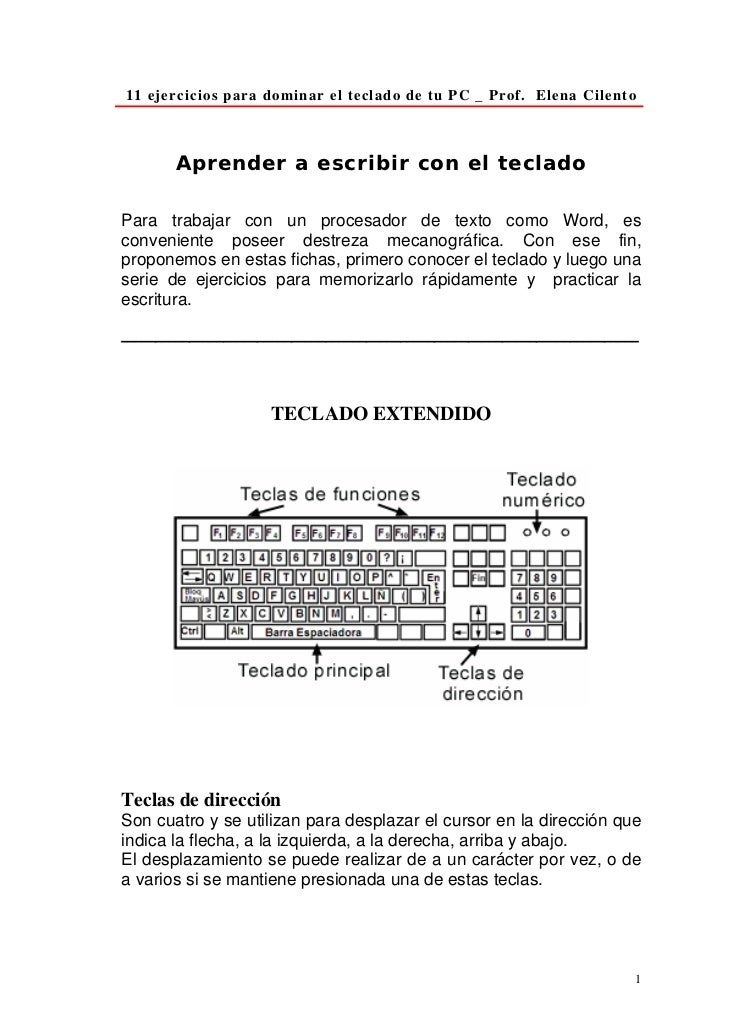 11 ejercicios para dominar el teclado de tu PC _ Prof. Elena Cilento           Aprender a escribir con el teclado  Para tr...
