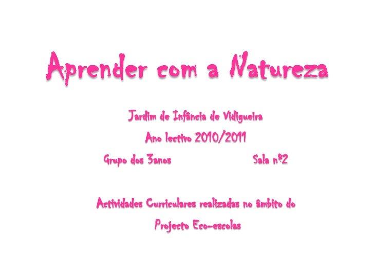 Aprender com a Natureza<br />Jardim de Infância de Vidigueira<br />Ano lectivo 2010/2011<br />Grupo dos 3anos Sala nº2<br...