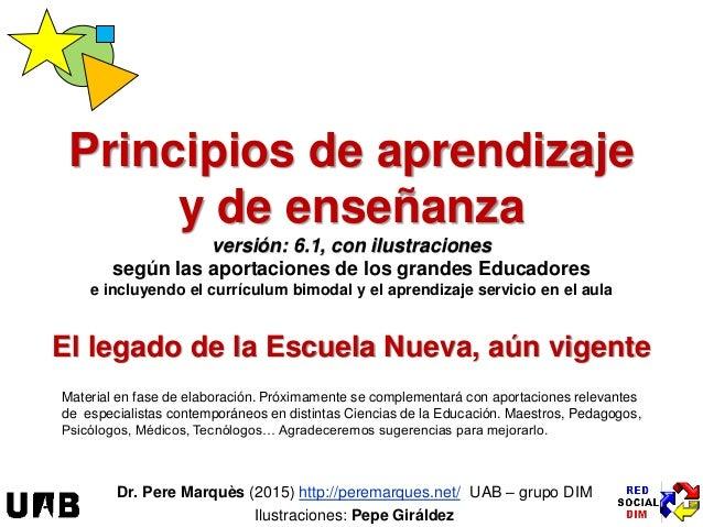El legado de la Escuela Nueva, aún vigente Dr. Pere Marquès (2015) http://peremarques.net/ UAB – grupo DIM Ilustraciones: ...