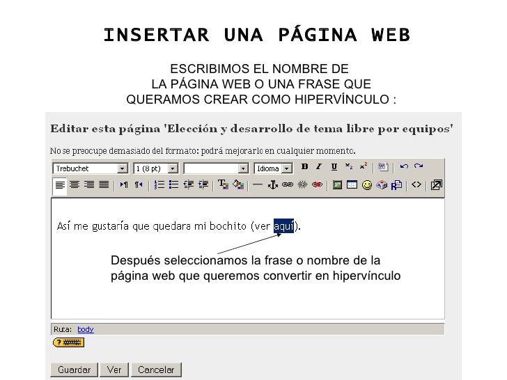 Después seleccionamos la frase o nombre de la página web que queremos convertir en hipervínculo INSERTAR UNA PÁGINA WEB ES...