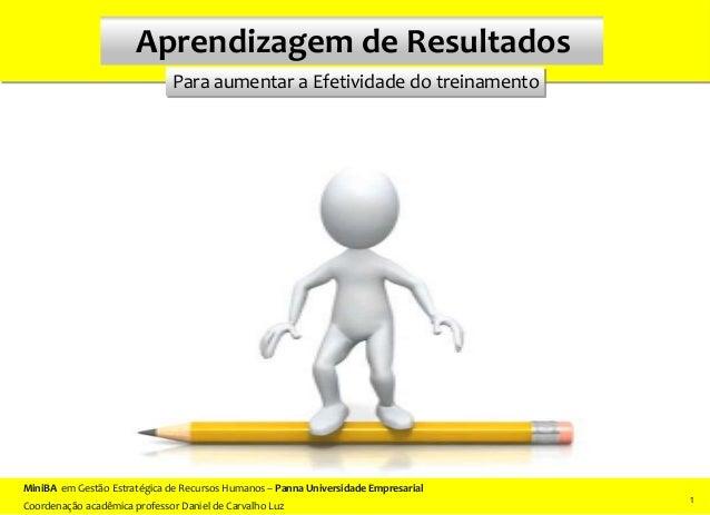 Para aumentar a Efetividade do treinamento Aprendizagem de Resultados 1 11 MiniBA em Gestão Estratégica de Recursos Humano...