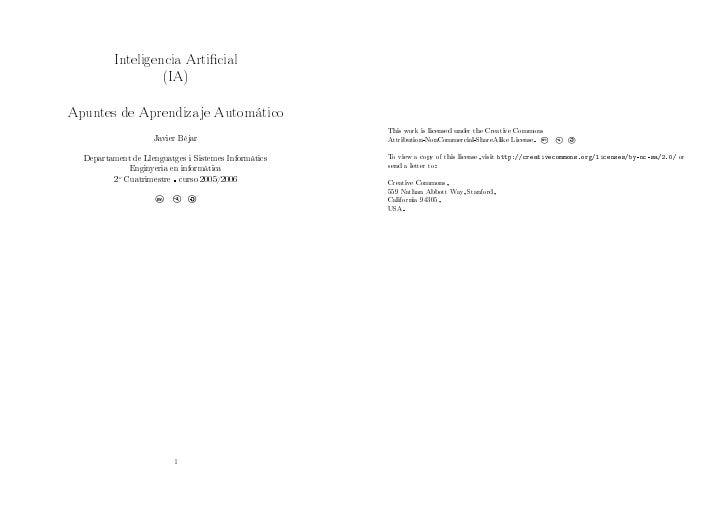 Inteligencia Articial                   (IA)  Apuntes de Aprendizaje Automático                                           ...