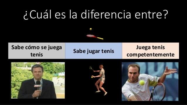 ¿Cuál es la diferencia entre? Sabe cómo se juega tenis Sabe jugar tenis Juega tenis competentemente