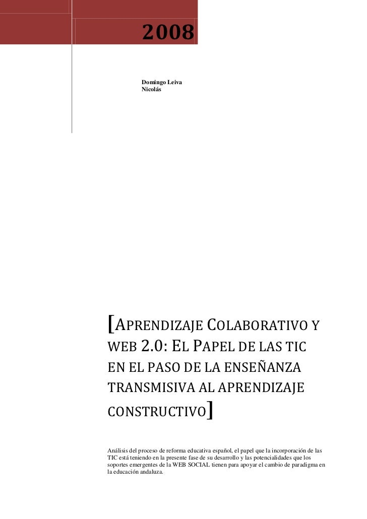 Aprendizaje colaborativo y web2.0